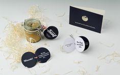 DEROBERHAMMER - Xmas mailing Homemade Mustard, Laser Engraving, Xmas, Place Card Holders, Shapes, Creative, Design, Fine Dining, Christmas
