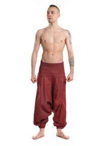 Sarouel homme elastique etoile ethnic geometric bordeaux - FZ1729 - 100% coton doux du Népal.