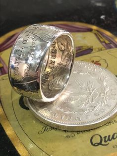 Handcrafted Morgan dollar coin ring silver, antiqued or polished finish Engraved Wedding Rings, Black Wedding Rings, Silver Dollar Coin, Silver Coins, Coin Jewelry, Unique Jewelry, Jewelry Crafts, Jewlery, Coin Art