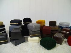 Large Collection of 39 Vintage Jewelry Cases in Assorted Colors - Vintage Jeweler Presentation Boxes Group of 39 for Display & Repurposing by DivineOrders