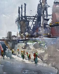 "dleeartist Working Hard at Steel Stack Bethlehem, w/c, 12"" x 16"""