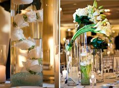 White Centerpieces | Roses in water | Calla Lilies | Hydrangea | Tulips | Tall