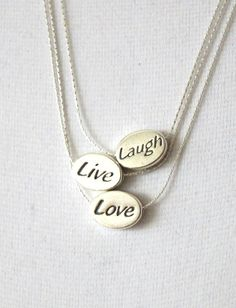Laugh Live Love Necklace - Sterling Silver Necklace, inspirational Jewelry, Be strong Gift, Life Motto Jewelry, Meaningful necklace, www.colormemissy.com