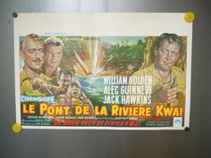 THE BRIDGE ON THE RIVER KWAI VINTAGE BELGIAN MOVIE POSTER (1957) FREE SHIPPING