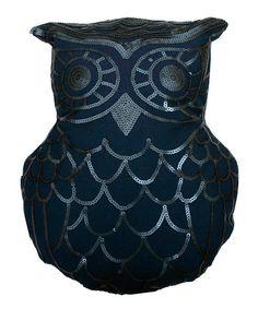 Look at this #zulilyfind! Blue Wing Teal Sequined Owl Throw Pillow #zulilyfinds