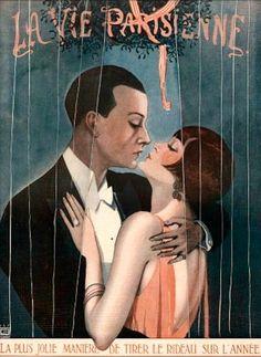 """Illustrator Georges Leonnec, Dec. 1925, """"La plus jolie manière de tirer le rideau sur l'année""""(The prettiest way to draw the curtain on the year) #Kiss #LaVieParisienne"""