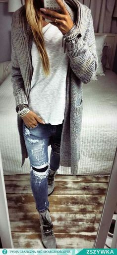 Chunky grey cardigan, white tee, and distressed jeans outfit for fall or winter