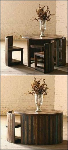Here's a great space saving table made from reclaimed teak. The chairs are fitted with a forged iron handle on the back so you can easily pull them out.  We have more space-saving furniture for you here http://theownerbuildernetwork.co/gcg0  Could you use one of these in your home?