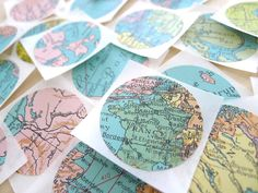 Vintage World Map Sticker Seals - Set of 10. From Happy August shop.