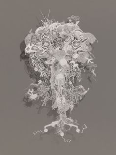 """Atomic Jellyfish"" 2007 by Bovey Lee, chinese xuan (rice) paper, hand-cut, 27 in. x 49 in."