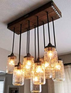 Lámpara hecha con tarros de cristal Log Cabin Kitchens, Mason Jar Lamp, Kitchen Remodel, Updated Kitchen, Kitchen Remodeling