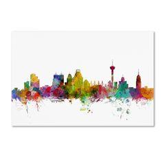 Michael Tompsett 'San Antonio Texas Skyline' Canvas Art