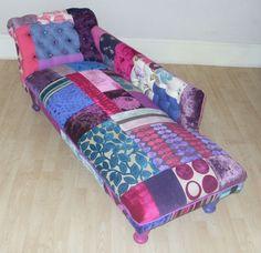 Vintage deep buttoned patchwork chaise longue