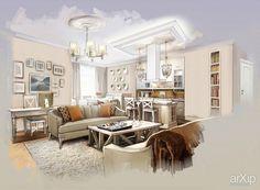 Дизайн квартиры в ЖК Доминион: интерьер, квартира, дом, гостиная, французский, прованс, 80 - 100 м2 #interiordesign #apartment #house #livingroom #lounge #drawingroom #parlor #salon #keepingroom #sittingroom #receptionroom #parlour #french #provence #80_100m2 arXip.com