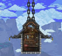 A hanging house in Terraria