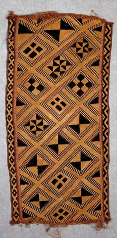 Africa | Design panel ~ bwiin ~ from the Kuba people of DR Congo | Raffia palm fiber, natural pigment dyes | ca. prior to 1924
