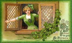 A sweet young lass sporting green greets viewers of this beautiful vintage St. Patty's Day postcard.