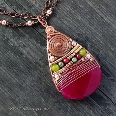JADEITOVÝ+Náhrdelník...POLODRAHOKAMY+Originální,+autorský+náhrdelník+s+nádherným,+broušeným+Jadeitem+v+krásném,+malinovém+odstínu,+který+doplňuje+měděná,+tepaná+spirála,+šťavnatě+zelený,+Korejský+Jadeit,+pravé+říční+perly+v+zeleném+a+malinovém+dostínu+a+měděné+korálky.+Zavěšeno+na+dvojitém,+ozdobném+řetízku+různé+síly.+Zapínání+na+karabinku.+...