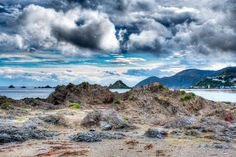 Approaching Storm. The view from Houghton Bay looking towards Island Bay in Wellington, New Zealand