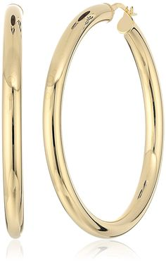 14k Yellow Gold Large 50 mm Round Tube Hoop Earrings >>> Be sure to check out this awesome product. (This is an Amazon Affiliate link and I receive a commission for the sales)
