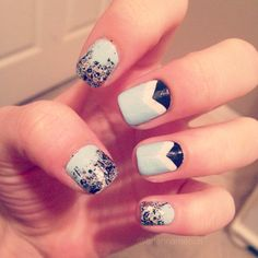 triangle ombré blue and black glitter nail design