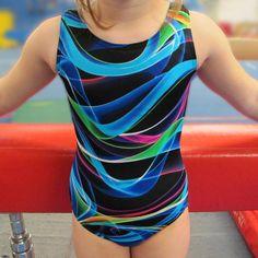 Girls Gymnastics Leotard  Child size 2-12 rainbow black