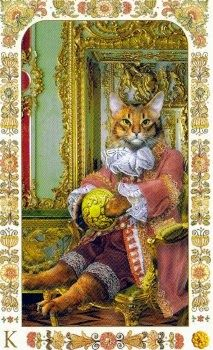 """Tuesday's Tarot: KING OF PENTACLES (Baroque Bohemian Cats' Tarot) – Your leadership and practical abilities may be called upon to keep things organized and stable today. This is the card that is considered """"Leader of the Pack"""" – especially in relation to family and/or financial concerns."""