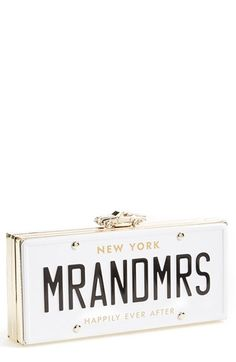 kate spade new york 'mr. and mrs. - happily ever after' license plate box clutch available at #Nordstrom