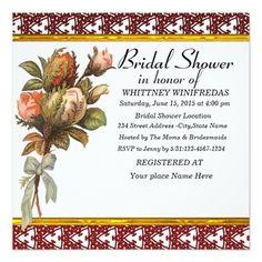 Tastefully Bridal Shower Red Flower Customized Invitation Cards