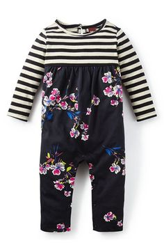 Tea Collection 'Marcela' Stripe & Floral Stretch Cotton Romper (Baby Girls) available at #Nordstrom