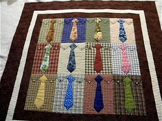 such a cute quilt for father's day! I'm thinking this~~ I have some of my dad's old ties~ why couldn't you applique a real tie on each block, instead of using a pattern for a tie???