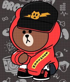 Cony Brown, Brown Bear, Lines Wallpaper, Wallpaper Backgrounds, Simple Character, Shark Tattoos, Friends Wallpaper, Line Friends, Cute Cartoon Wallpapers
