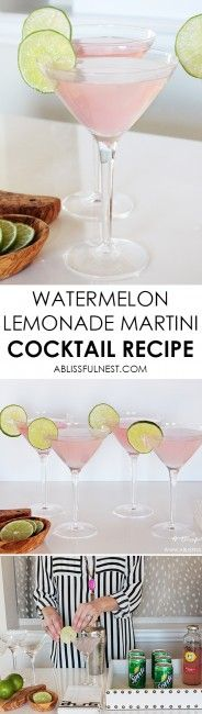 The perfect summer cocktail recipe! Delicious watermelon lemonade martini recipe + a video! http://ablissfulnest.com/ #cocktailrecipe #summercocktail #martinirecipe #drinkrecipe