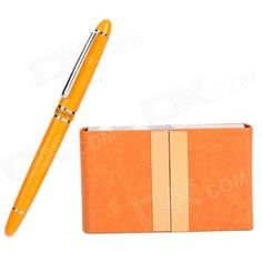 Color: Orange + Yellow; Brand: HERO; Model: 909; Material: Stainless steel + PU; Quantity: 1 Piece; Refill Color: Black; Writing Thickness: Thin; Other Features: Black ink pen refill can be replaced; And comes with a card case to place the business cards; Packing List: 1 x Pen 1 x Card case; http://j.mp/1p10PRZ