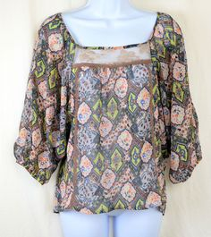 womens f.a.n.g blouse, size M, multicolored sheer with lace, polyester #FANG #Blouse $16.99