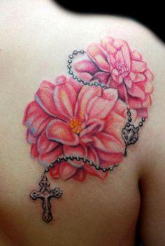 rosary tatoo | Dahlia with Rosary Tattoo : Tattoos :