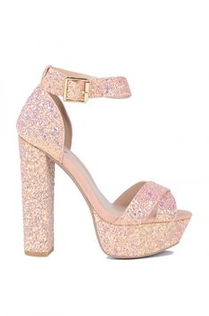 The Party Time Ankle Strap Platform Sandals boast a large heel and elevated sole. Glitter High Heels, Sparkly Shoes, Glitter Sandals, Fancy Shoes, Prom Shoes, Pretty Shoes, Wedding Shoes, Pink Sandals, White Shoes
