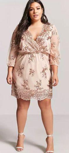 Plus Size Rose Gold Sequin Dress - Plus Size Party Dress – Plus Size Cocktail Dress #plussize #Plussizepartydress