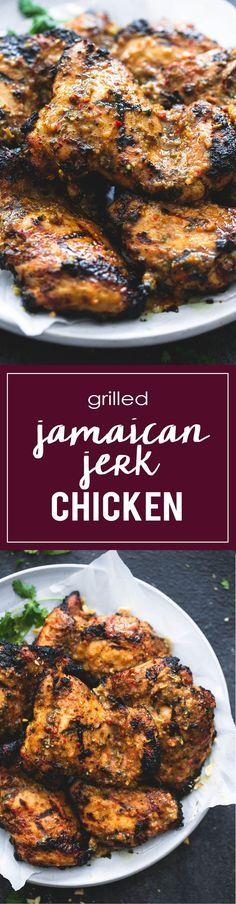 Grilled Jamaican Jerk Chicken | http://lecremedelacrumb.com