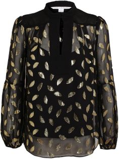 DIANE VON FURSTENBERG - Gold Leaf Patterned Sheer Silk Blouse