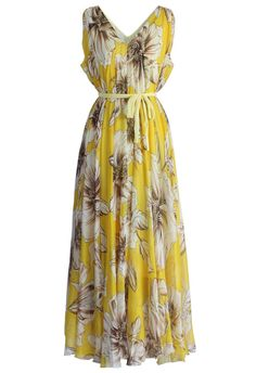 Floral Chiffon Maxi Dress, Halter Neck Maxi Dress, Yellow Maxi Dress, Floral Dresses, Pleated Maxi, Floral Gown, Print Chiffon, Ruffle Dress, Lace Skirt