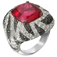 Italian Jewellery Brand Mattioli ~ White Gold, Rubellite and Diamond Ring