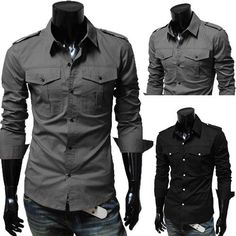 Fashion epaulette double pocket male casual slim long-sleeve shirt 5842