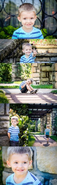 3 year old boy pictures. Little boy photo shoot. Toddler photos. Stones, plants, and gravel. Photographs taken in Kansas City, MO at Loose Park by Summer Arlint Photography.