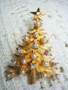 Vintage Mylu AB Rhinestone Faux Pearl Christmas Tree Brooch | eBay