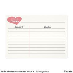 Bridal Shower Personalized Heart Recipe Cards