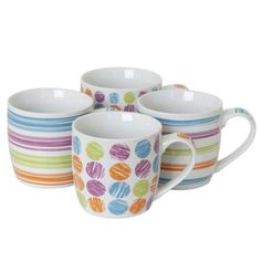 4pc Skittle Mug Set #sabichi #kitchen #mug #porcelain #coffee #tea