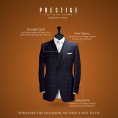 We look into the finer details and that's what makes us so different. When you walk into our store to purchase a #suit, you will be guided through until you are entirely satisfied, from the fabric to the fit. So walk in to #PrestigeTheManStore and experience all this for yourself!