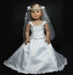 Wedding Dress with Pearl veil that fit von JasmineDollFashions