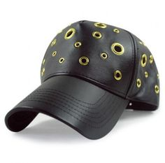24f3ac7bced New 2015 Black PU  Baseball  Cap with Holes and Snap Back Wholesale On Line